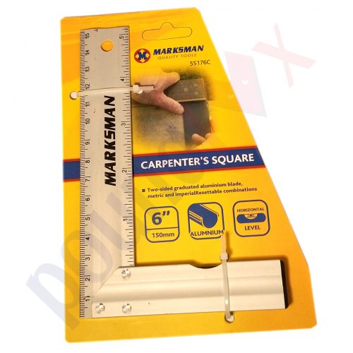 "Carpenter's Square 6"" 2-sided Aluminum Blade, Metric & Imperial + Level"