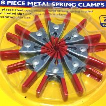 "8 Pieces Metal Spring Clamps 2"" (50mm) Zink Plated with Vinyl Coated Grips"