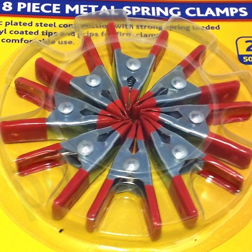 """8 Pieces Metal Spring Clamps 2"""" (50mm) Zink Plated with Vinyl Coated Grips"""