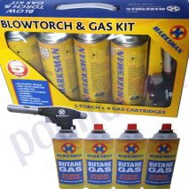 BLOWTORCH & GAS KIT 4 Bottles FLAMETHROWER Soldering WELDING Plumbing HOBBY
