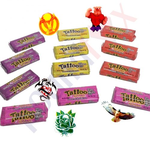 Soft Bubble Gum with Tattoo Sticker Mixed Fruit (Tutti Frutti) Flavour
