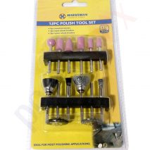 12pcs Polish Rotary Tool Set 3.17mm Shank - Stones, Steel & Nylon Wheel Brushes