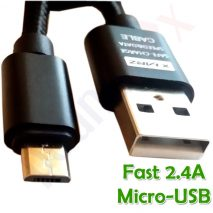 3m FAST Braided 2.4A High Speed Charger and Data Cable Micro USB Android