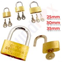 Strong Brass Padlock 3 Sizes for Luggage and 2 Keys - 25, 30 and 35mm