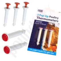 3x Pop Up Poultry Thermometer Timer for Chicken, Turkey etc.
